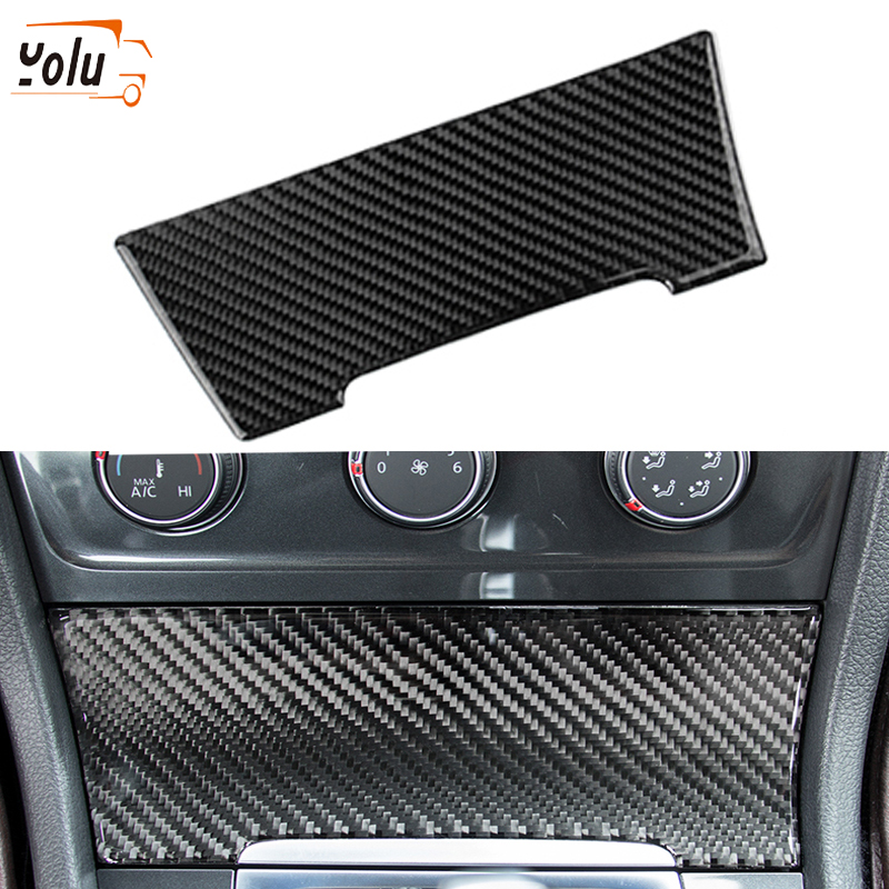 YOLU Fit for VW <font><b>Golf</b></font> <font><b>7</b></font> Cigarette Lighter Cover <font><b>Carbon</b></font> <font><b>Fiber</b></font> Control Equipment Decorative Stickers Car Interior Accessories image