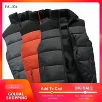 FALIZA nuevas chaquetas Para Hombre chaleco sin mangas Chaleco de invierno Para Hombre cálido abajo Homme Casual Thicken chaleco Chalecos Para Hombre 5XL MJ-M