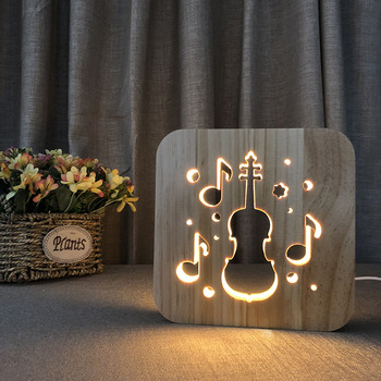 Night Light Ambience Creative Solid Wood Lamp Cello Carving Hollow Holiday Decorations for Home