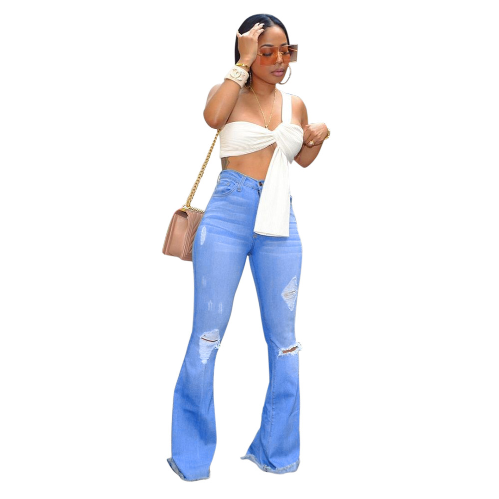 2019 Wash Bleaching Bell Bottom High Waist Female Denim Ripped Jeans For Women Fat Mom Jeans Flare Skinny Jeans Woman Large Size