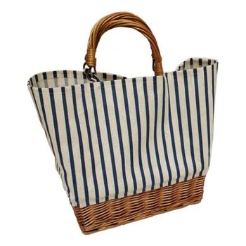 Striped canvas straw bag Large-capacity rattan bag portable woven Bucket  handbag Woman large shopping bag Summer Wicker Basket 4