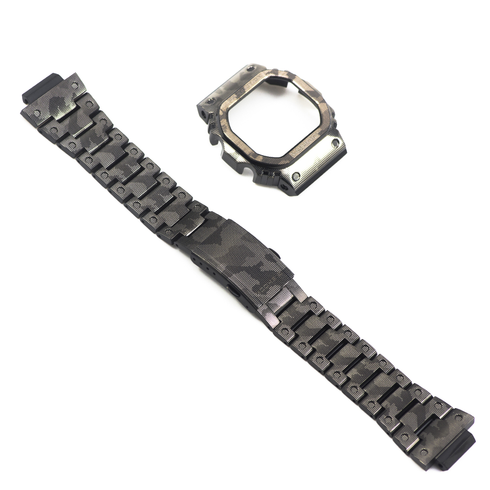 New Camouflage Titanium Alloy Super Light DW5600 GW-M5610 Watchband Bezel/Case Strap Watch Set