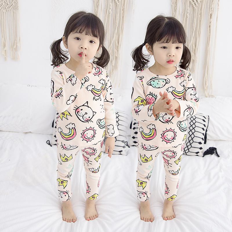 Childrenswear CHILDREN'S Pajamas Women's Small CHILDREN'S Spring And Autumn Children Pure Cotton Long Sleeve Thin Girls Little G