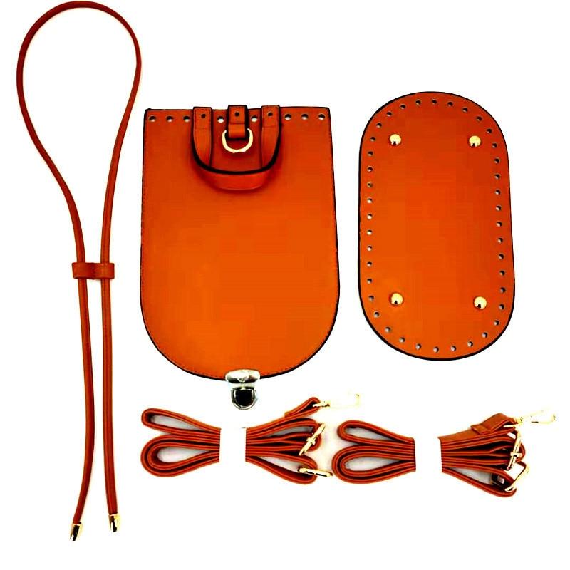 5PCS Set Handmade Bag Shoulder Strap Woven Set PU Leather Replacement Bag Bottom For DIY Bag Backpack Handbag Bag Accessories