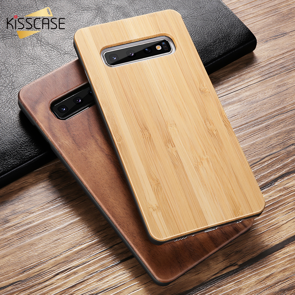 KISSCASE Chic Vintage Holz Fall Für <font><b>Samsung</b></font> Galaxy S10 S9 S8 Fall Luxury Real Holz Fall Für <font><b>Samsung</b></font> S7 Rand s10E S10 Plus Capa image