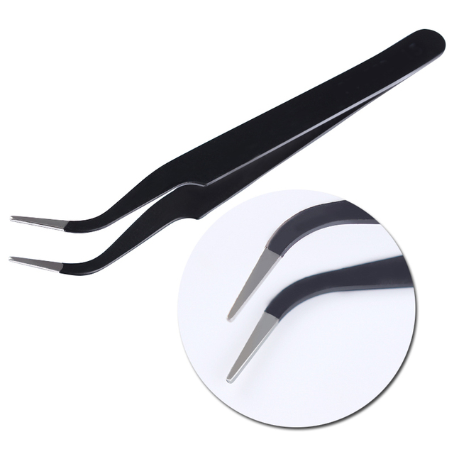 1Pc Black Color 3D Nail Rhinestone Nippers False Eyelash Curved Tip Tweezer Curved Eye Nail Art Makeup Cosmetic Nail Art Tools 5