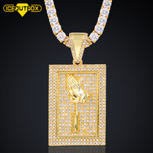 New Design Square Rose Hand Pendant Necklace For Women Men's Hip Hop Jewelry AAA Crystal Bling Jewelry Drop Shipping For Gift(China)