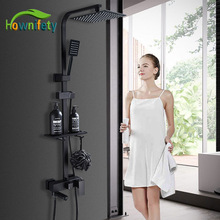 Matte Blacked Shower Faucets Ultra thin Rain Shower Head and hand shower with shelf hot