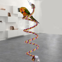 50cm Chewing Bar Parrot Bird Perch Toy Spiral Cotton Rope Swing Climbing Standing Toys with Bell Bird Supplies(China)