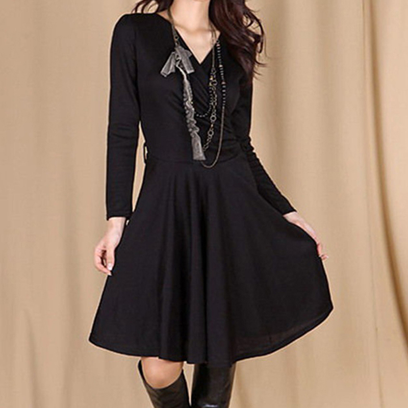 Новое Осеннее женское вязаное платье, элегантное женское платье с глубоким v-образным вырезом, модное асимметричное платье с подолом, повсе...