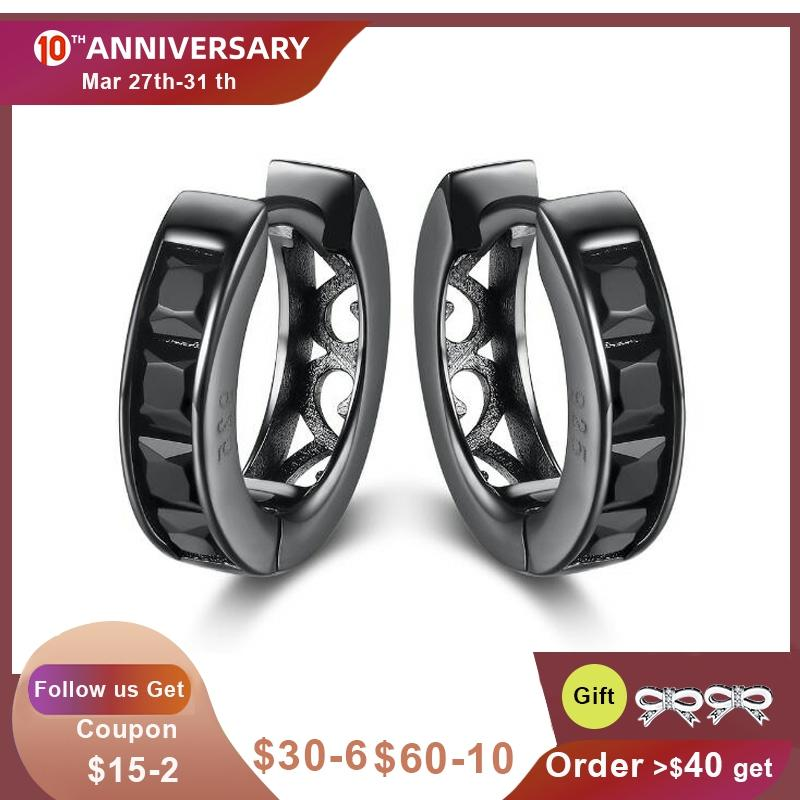 KALETINE Hip Hop Genuine 925 Sterling Silver Small Hoops CZ Black Rhodium Rathium Vathë Huggie Për Gratë KLTE010 Burra 2018