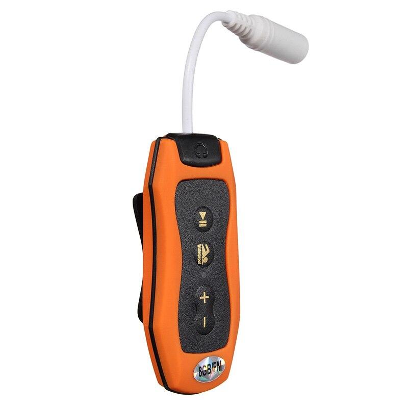 8GB MP3 Player Swimming Underwater Diving Spa + FM Radio Waterproof Headphones Orange