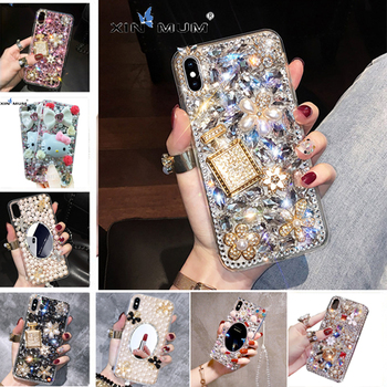 3D Phone Case for For Huawei P40 P30 Pro P20 Mate 30 20 Pro Lite Y9 2019 DIY Rhinestone Crystal Diamond Love Jewelled Back Cover