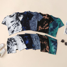 Summer Toddler Boy Clothing Kids Baby Boys Clothes Tracksuit Sets Short Sleeve Tshirt Shorts Casual Tie-dye Print Infant Outfits