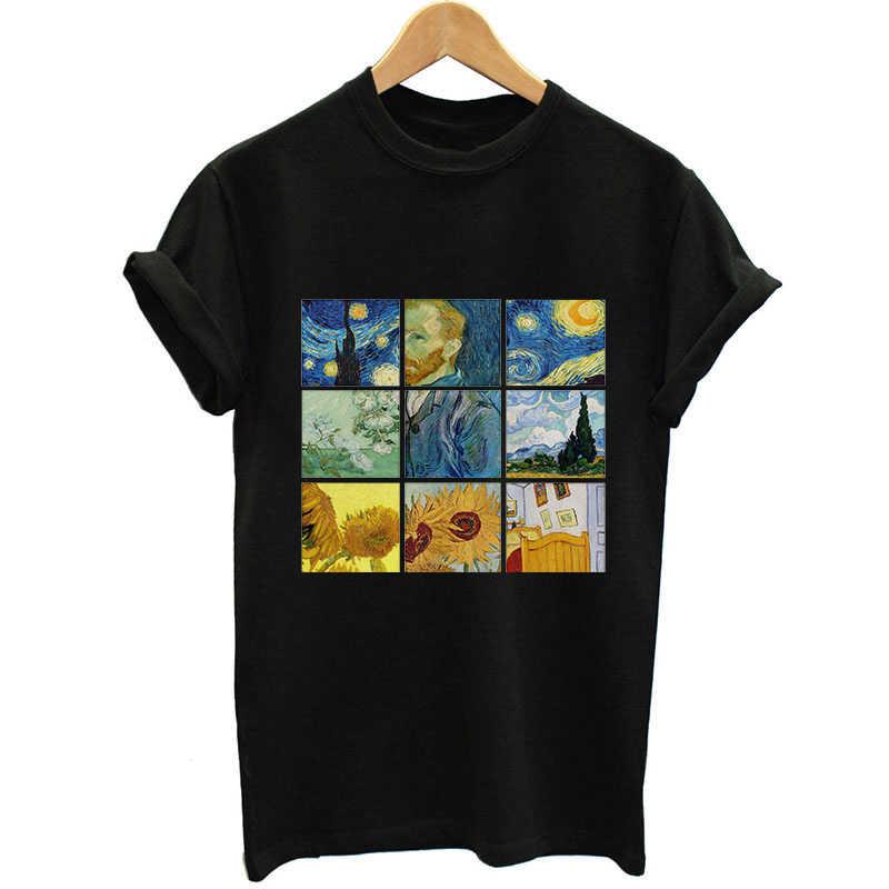 חברים חדשים T חולצת נשים ואן גוך סריג הדפסת חמוד בתוספת גודל נקבה חולצות מקרית Harajuku מלאך חולצות שחור Camisetas mujer