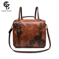 Medieval retro wind large capacity contrast color women's Messenger bag multi function portable shoulder computer bag