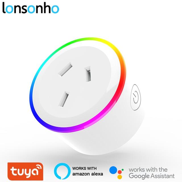 Lonsonho Tuya Smart Plug WiFi SOCKET Night Light Type Iออสเตรเลียนิวซีแลนด์อาร์เจนตินาทำงานร่วมกับAlexa Google Home MINI