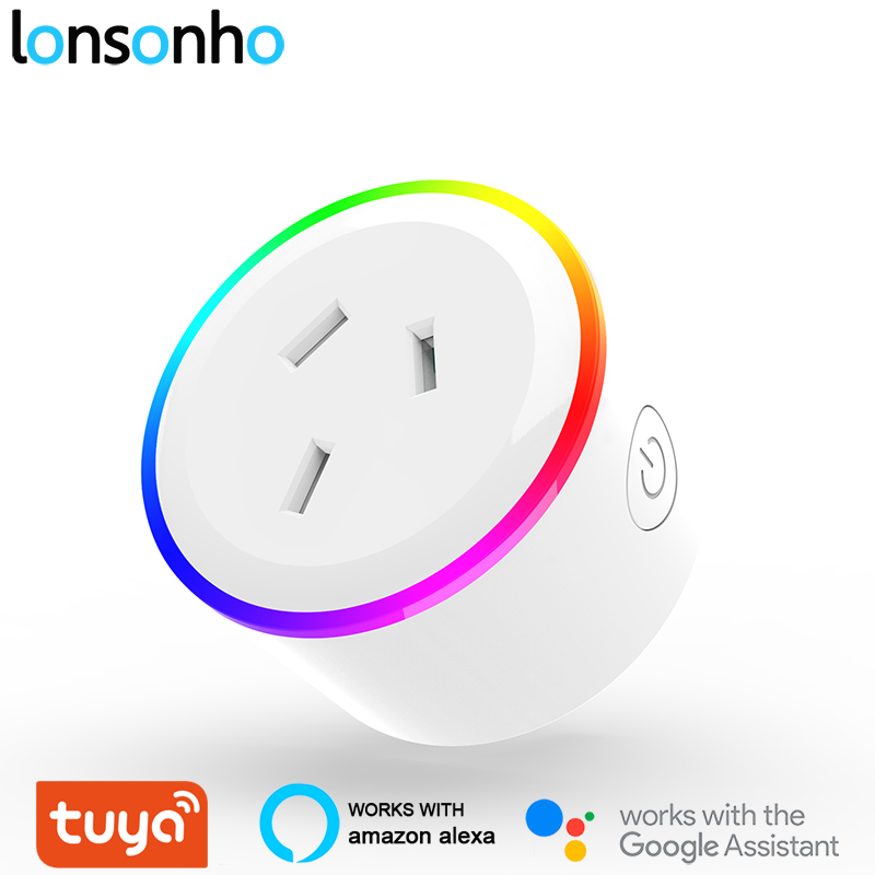 Lonsonho Tuya Smart Plug WiFi Socket Night Light Type I Australia New Zealand Argentina Plug Works With Alexa Google Home Mini