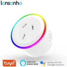 Lonsonho enchufe inteligente con luz nocturna para el hogar, enchufe WiFi, tipo I, enchufe de Australia, Nueva Zelanda, funciona con Alexa y Google Home Mini