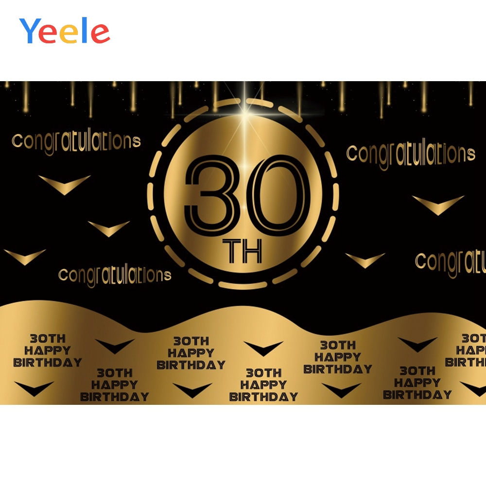 Yeele 30th <font><b>60th</b></font> <font><b>Birthday</b></font> Gold Decor Congratulations Photography <font><b>Backdrops</b></font> Personalized Photographic Backgrounds For Photo Studio image