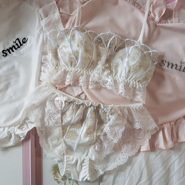 Japanese Style Princess Gold Stamping Lace Seashell Bra Suit Womens Lolita Tube Brassiere Bra & Panties Sets Sexy Lingerie