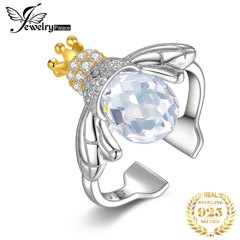 JewelryPalace Fashion 9ct Cubic Zirconia Crown Wing Honey Bee Adjustable Open Ring 925 Sterling Silver Women Luxury Fine Jewelry