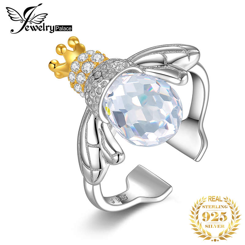 JewelryPalace Crown Bee Cubic Zirconia Rings 925 Sterling Silver Rings For Women Stackable Ring Silver 925 Jewelry Fine Jewelry
