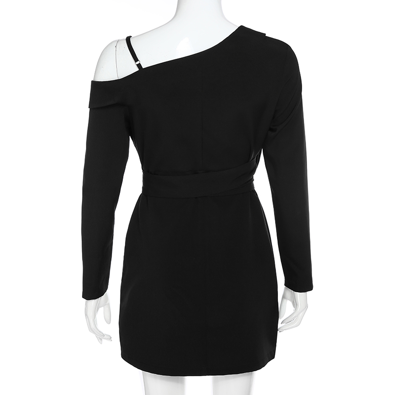 Elegant Asymmetrical Long Sleeve Office Blazer Black Dress 7
