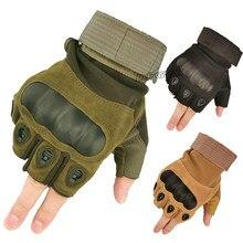 Guantes tácticos de medio dedo para hombre, guantes de combate militar, caza, tiro, Airsoft, Paintball, policía, sin dedos