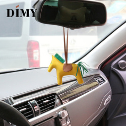 DIMY hecho a mano de cuero de cordero genuino Mini mochila de pony lindo caballo Charm Lambskin colgante encantos de Navidad para bolsos de las mujeres 13*10cm