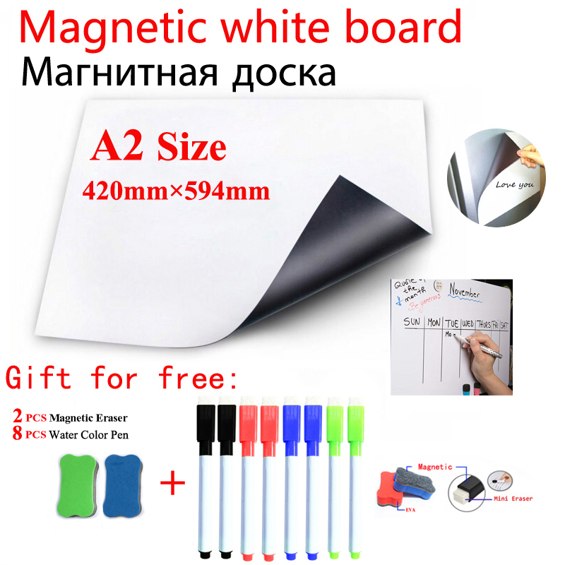 Magnetic Whiteboard Dry Erase White Board A2 Size School Student Supplies Stationery Office Information Message Painting Board