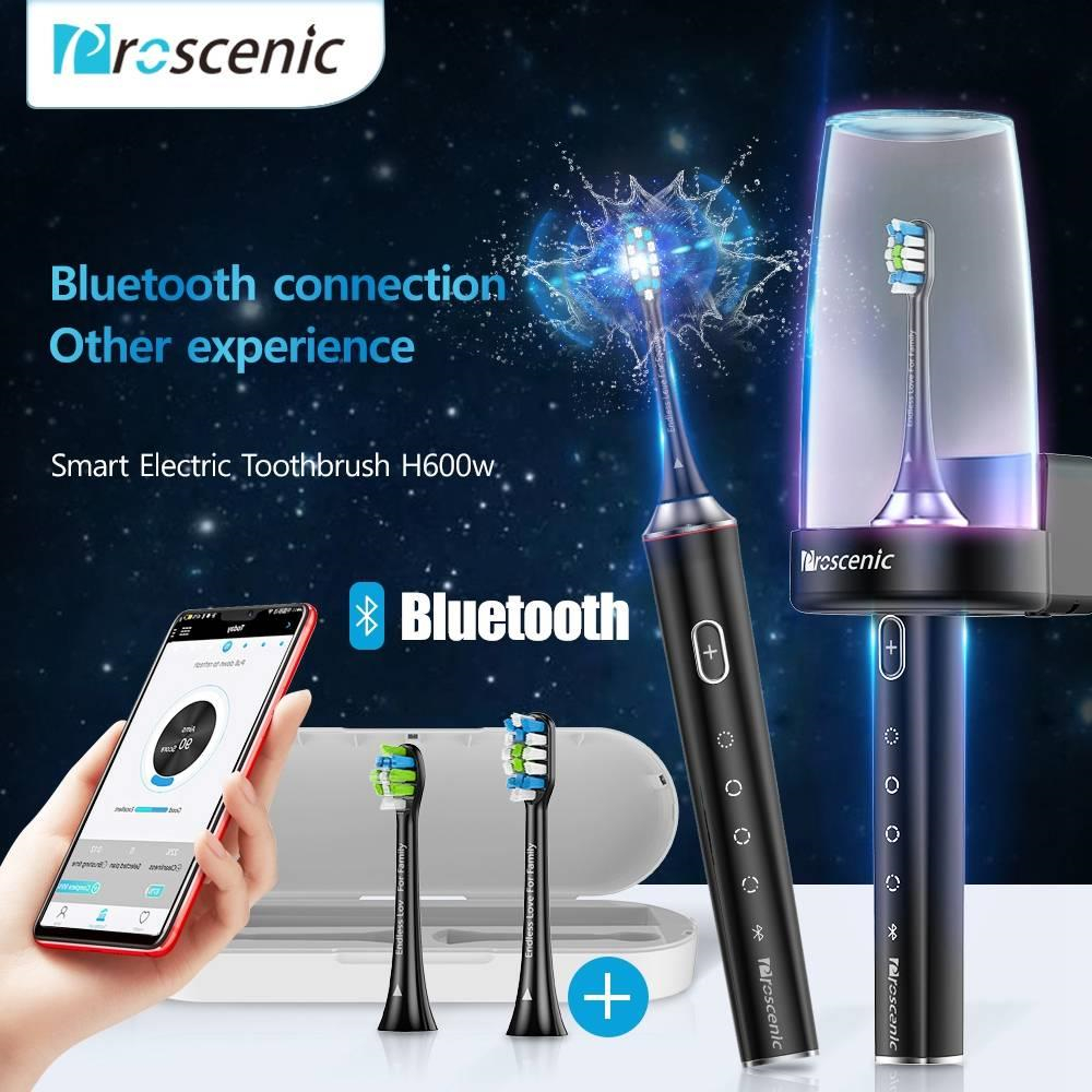 Electric Toothbrush Rechargeable Waterproof Proscenic H600 DuPont Soft Bristles Toothbrush APP Control Sterilization Smart Timer
