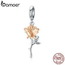 Bamoer 3D Rosa dije de pendiente de flor rosa de plata esterlina 925 amuletos de Color dorado para pulsera o collar DIY Bijoux BSC145