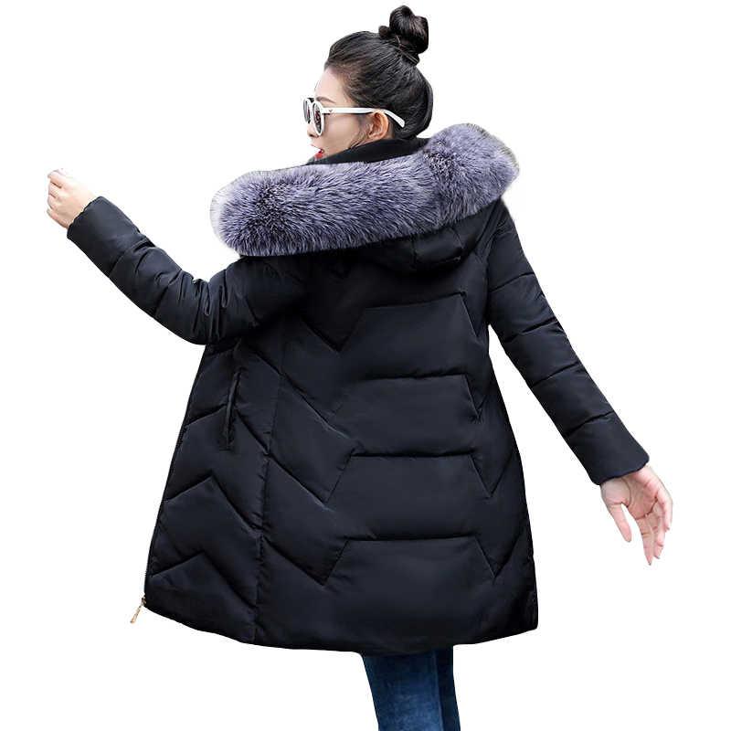 Wnter jaqueta feminina 2019 inverno feminino jaqueta longa gola de pele casaco de inverno das mulheres mais tamanho S-5XL parka casaco quente para baixo