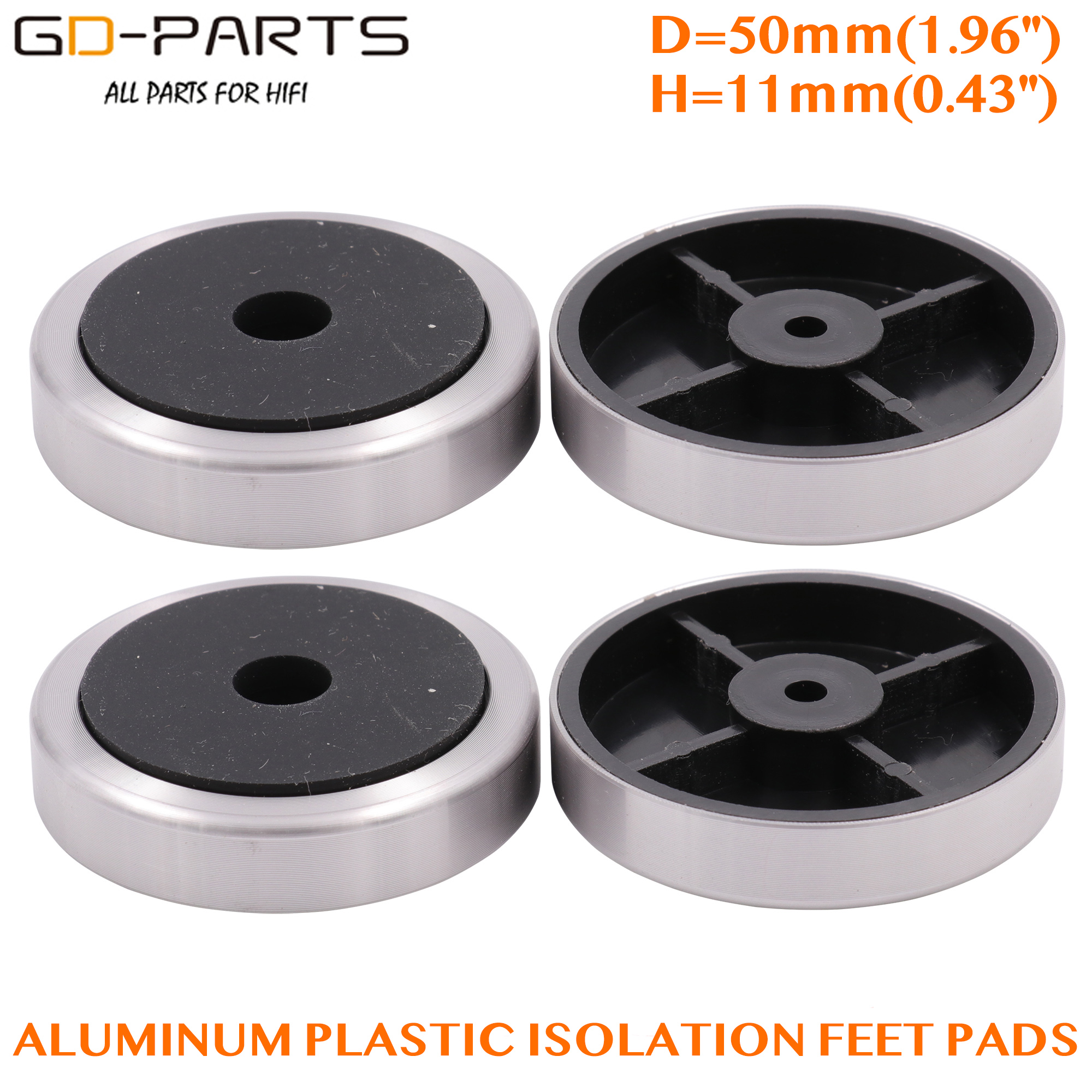GD-PARTS 50*11mm Aluminum Plastic Amplifier Foot Feet Speaker Computer CD DVD Chassis Isolation Stand Base Pads Pack Of 4PCS
