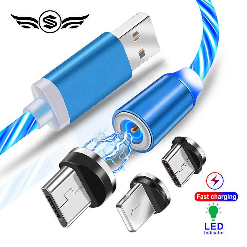 Şarj manyetik kablo USB tip C kablo manyetik kablo LED aydınlatma USB mikro şarj kablosu tel iPhone Huawei Samsung için