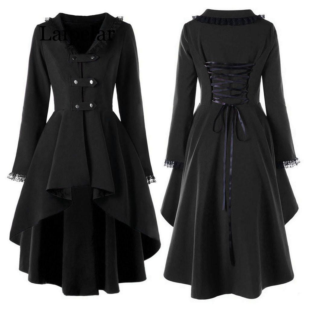 2019 New Fashion Gothic Vintage Mid-long Trench Coat Women Black Slim Belt Cloak Mujer Windbreaker Female Abrigos Brazil