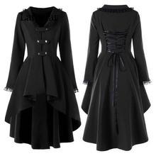 2019 New Fashion Gothic Vintage Mid-long Trench Coat Women Black Slim Belt Cloak