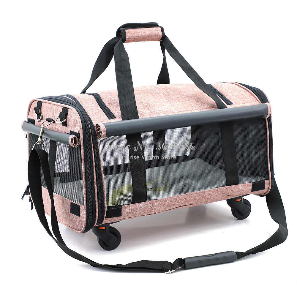 Foldable Breathable Collapsible Pet Cart with Universal WheelS Portable Pet Bag Outdoor Travel Pet Cat Carrier Dotomy Pet Cage