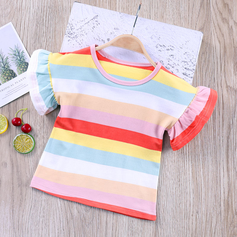 VIDMID Summer Fashion  T-shirt Children Girls Short Sleeves  Tees Baby Kids Cotton Tops For Girls Clothes   1-8Y  P1055 3