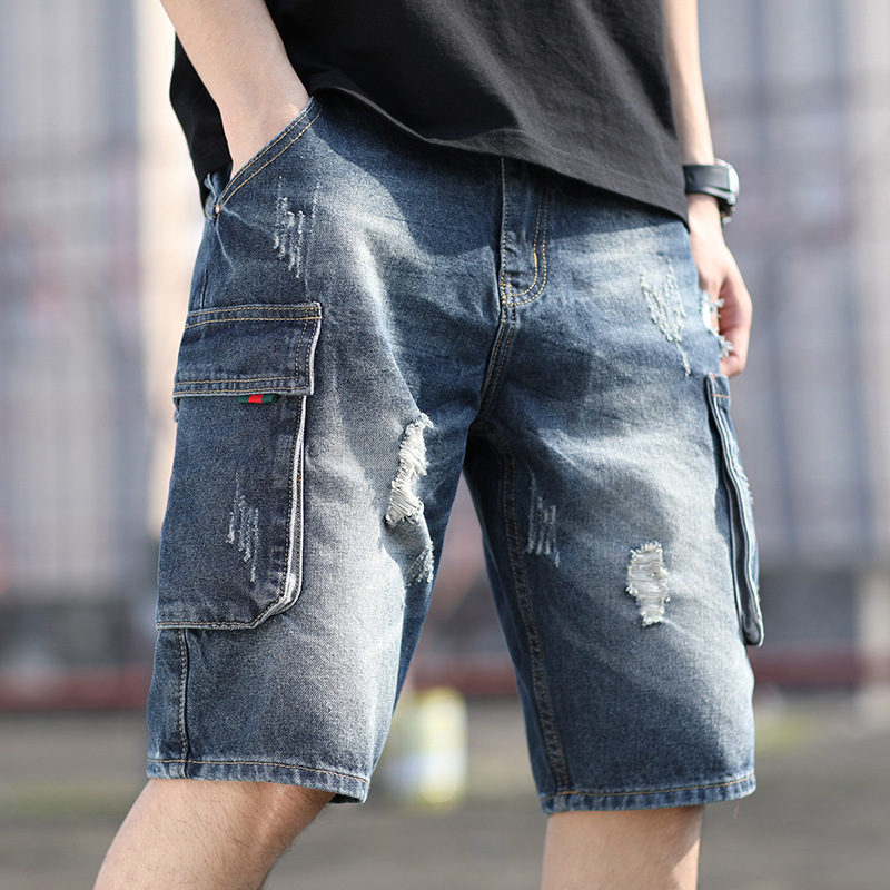 2020 Summer Light Distressed Loose Hole Pants Fashion Men's Streetwear Jean Pant Hip Hop Style Knee Length Ripped Jeans DK002
