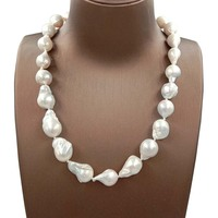 100% NATURE FRESHWATER Baroque PEARL NECKLACE in nature color, big baroque pearl .