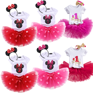 Baby Girls 1 2 Years old Birthday Party Dress Infantil 1st 2st Birthday Christening Costume Newborn DotsTutu Outfit