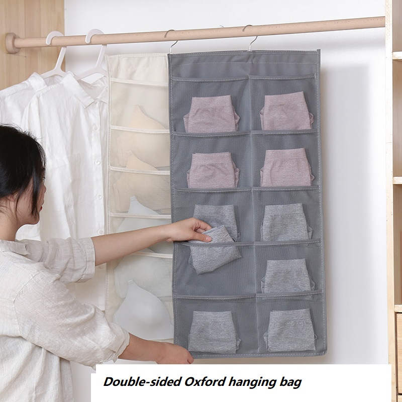 Household double-sided underwear, socks, hanging bags, washed fabric storage bags, wall-mounted bra storage bags behind the door