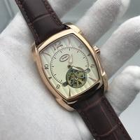 2019 nova chegada dos homens ka relógio de ouro rosa caso cinta marrom 34mm tamanho pa melhor qualidade 316l aço inoxidável esqueleto mecânico wat|Relógios mecânicos| |  -