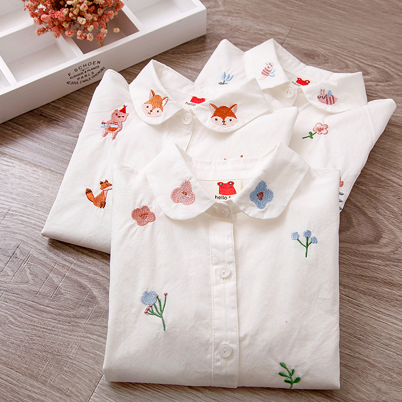 Girls Blouses Long Sleeve White Blouse Autumn 2020 Kids Clothes Girls 8 To 12 Cartoon Fox Embroidery Tops Cotton School ShirtsBlouses & Shirts   -