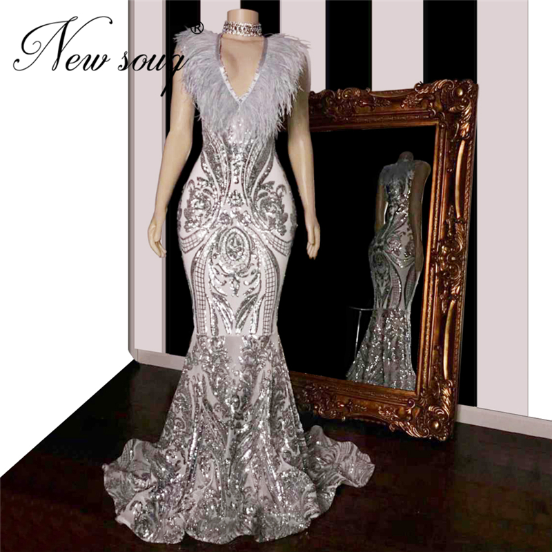 2020 Grey Plus Size Party Gowns Mermaid African Prom Dresses With Feathers TrainDubai V Neck Elegant Girls Evening Gala Gowns
