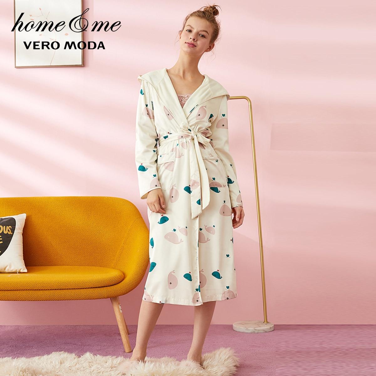 Vero Moda Women's Cartoon Pattern Cinched Waist Nightgown Bathrobe   319421506