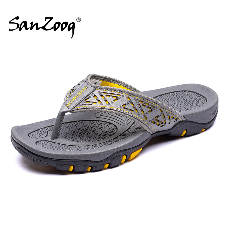 Summer Outdoor Genuine Leather Flat Mens Flip Flops Slippers Men Flip Flop News 2020 Casual Beach Shoes Hard-wearing Outside