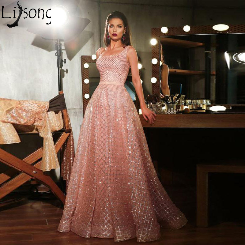 2019 New Sparkly Pink Long   Prom     Dresses   Sequined Tulle A Line Evening   Dress   Arabic Pageant Party Gown Robe de soiree Custom